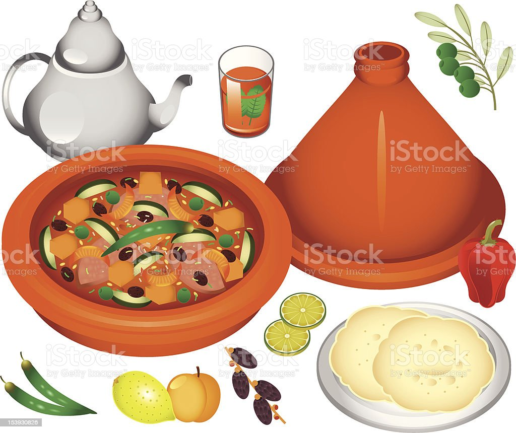 Moroccan Cuisine vector art illustration