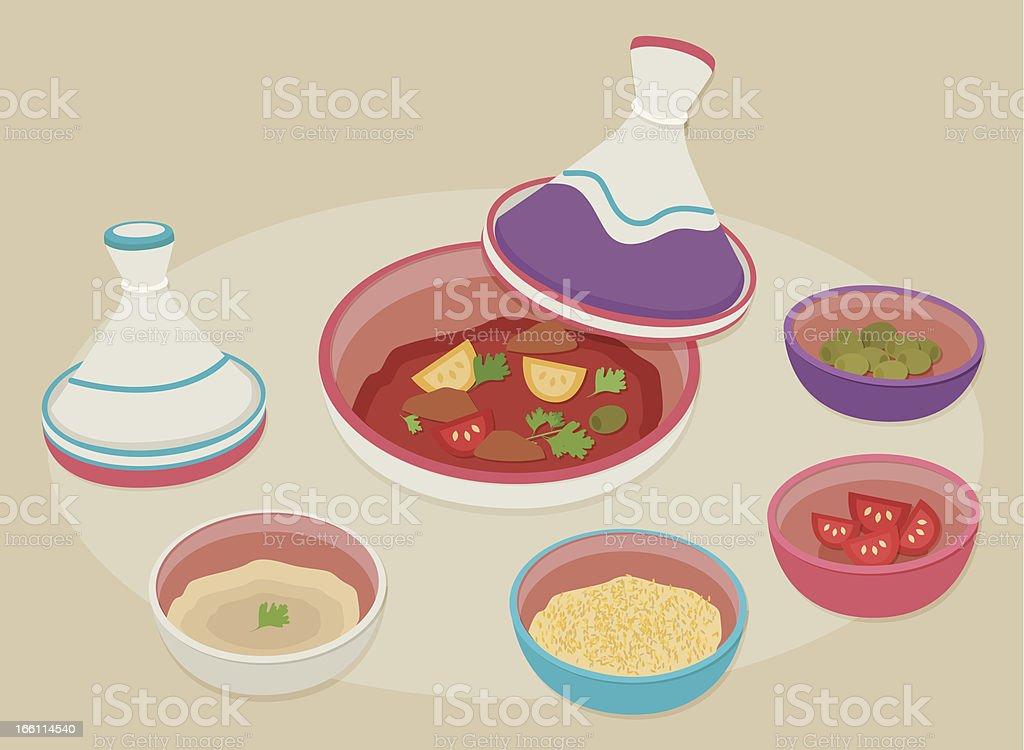 Moroccan dinner vector art illustration