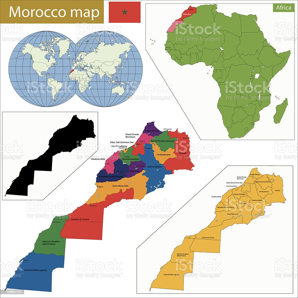 Morocco map vector art illustration