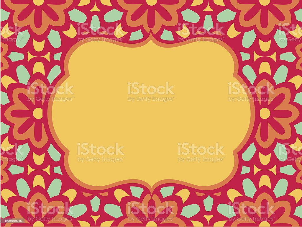 Morrocan Style Background Frame with Flower Pattern royalty-free stock vector art