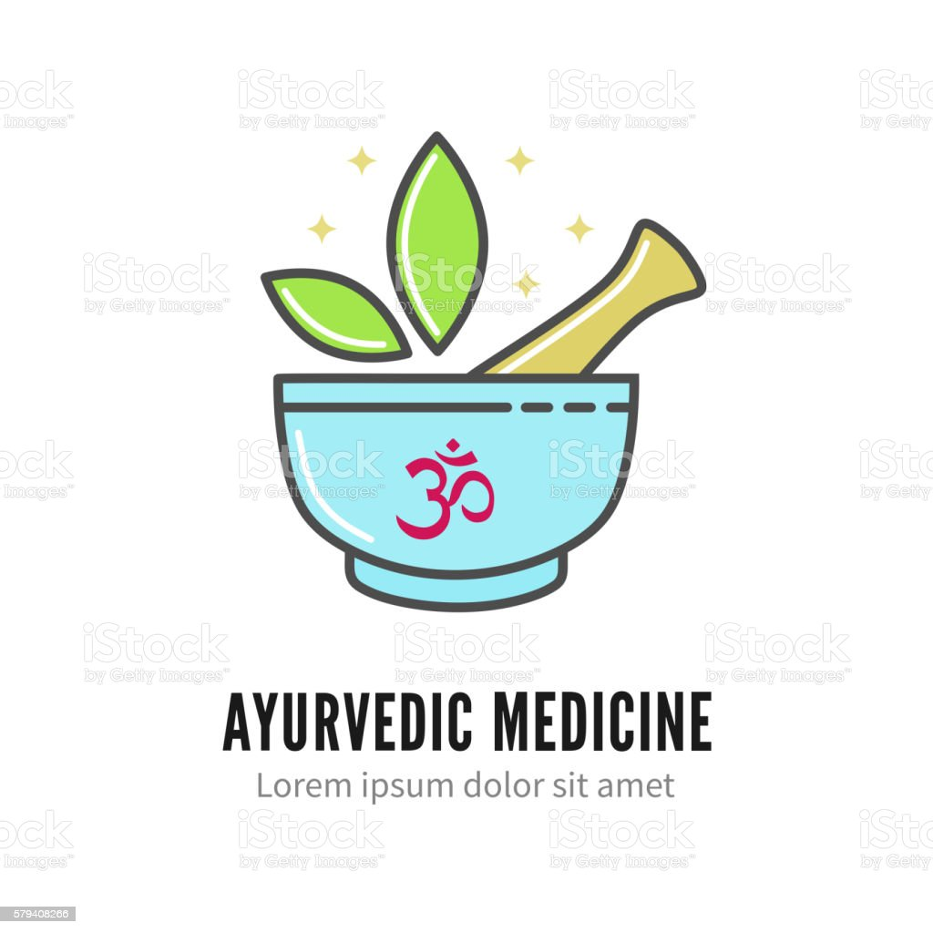 Mortar and pestle alternetive ayurvedic medicine logo, vector vector art illustration