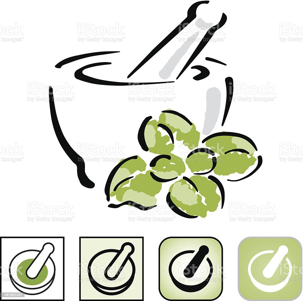 Mortar and pestle icon set. royalty-free stock vector art