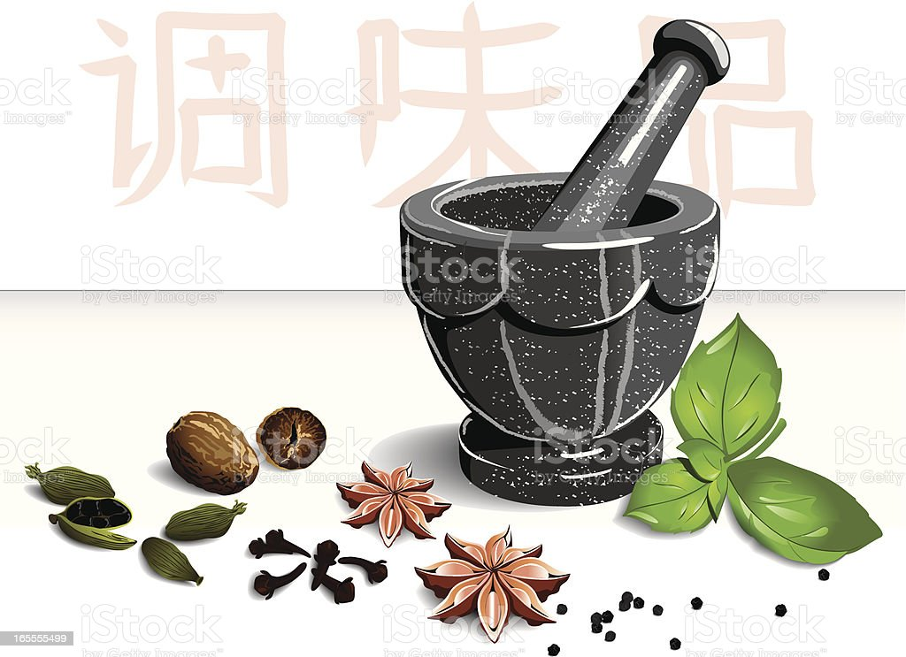 Mortar and spices royalty-free stock vector art