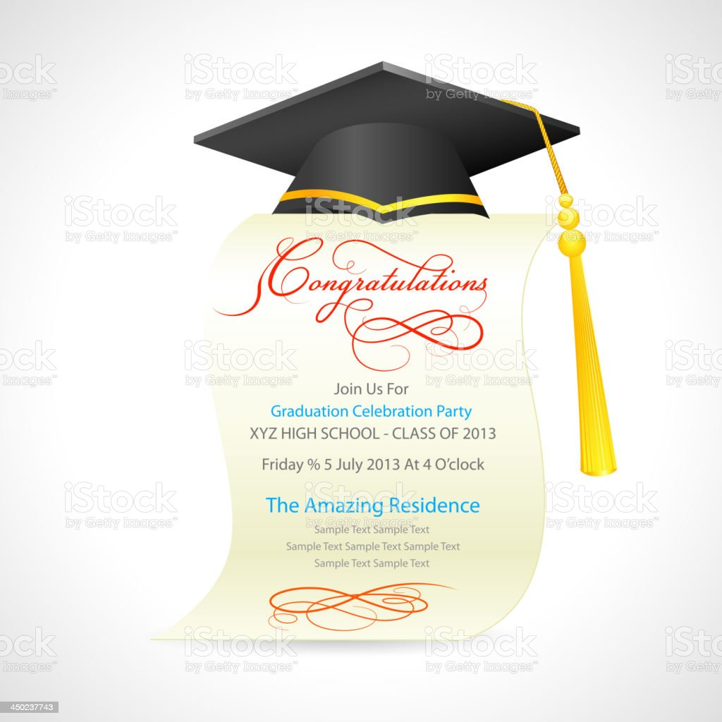 Mortar Board on graduation Certificate royalty-free stock vector art