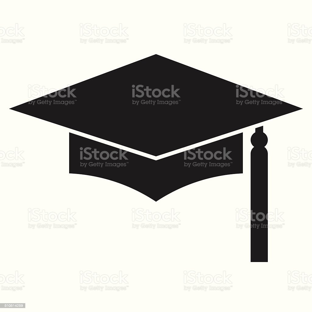 Mortar Board or Graduation Cap, Education symbol vector art illustration