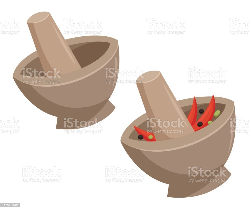 Mortar with the curry vector art illustration