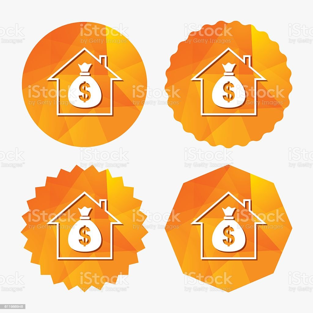 Mortgage sign icon. Real estate symbol. vector art illustration
