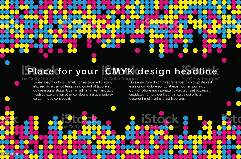 Mosaic background from CMYK colors - place for text vector art illustration