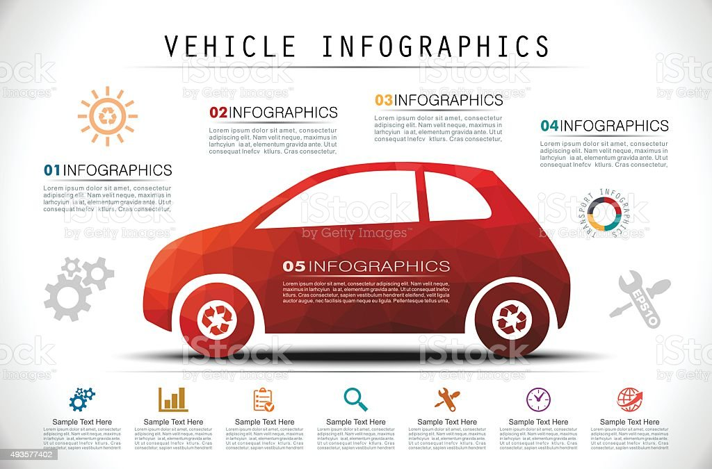 Mosaic Car Infographics vector art illustration