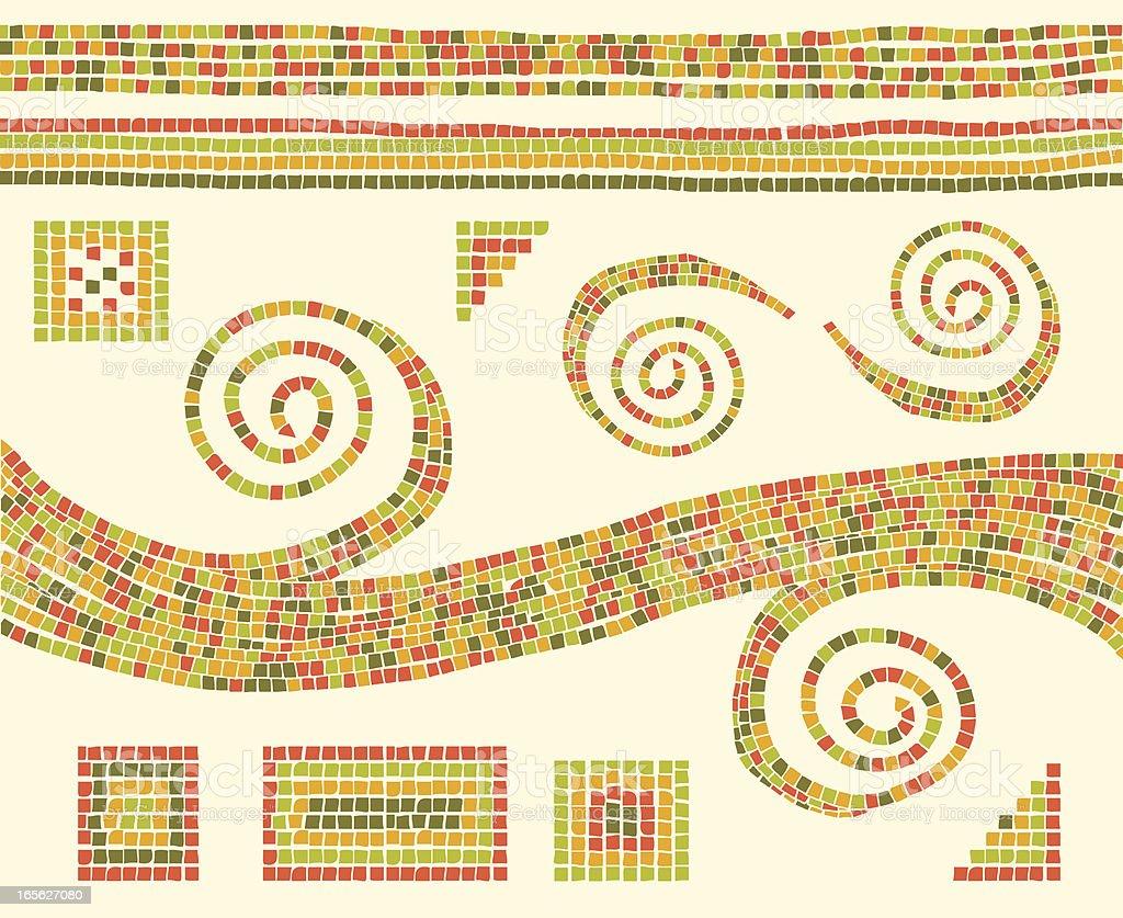 Mosaic Design Elements vector art illustration