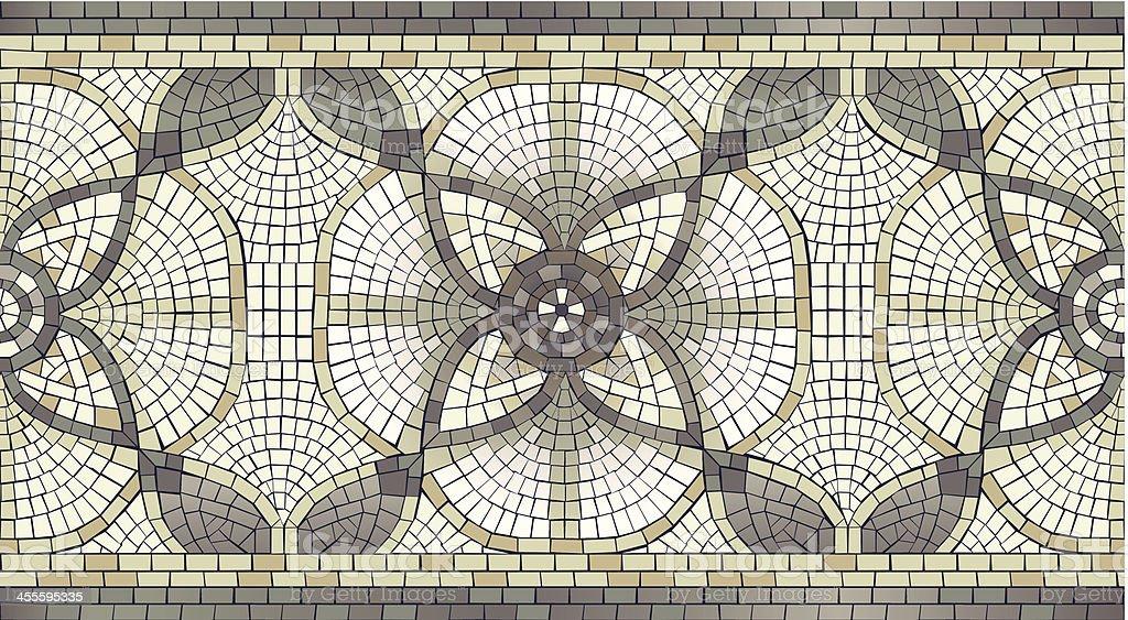 Mosaic Floral seamless Border vector art illustration