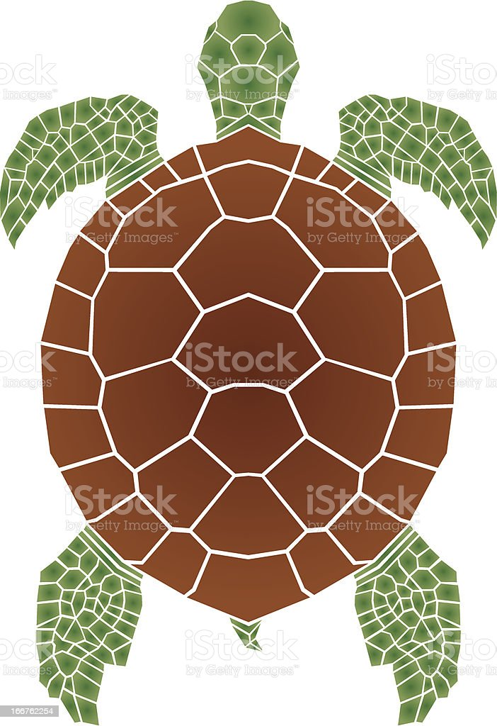 Mosaic illustration of a brown and green sea turtle on white vector art illustration