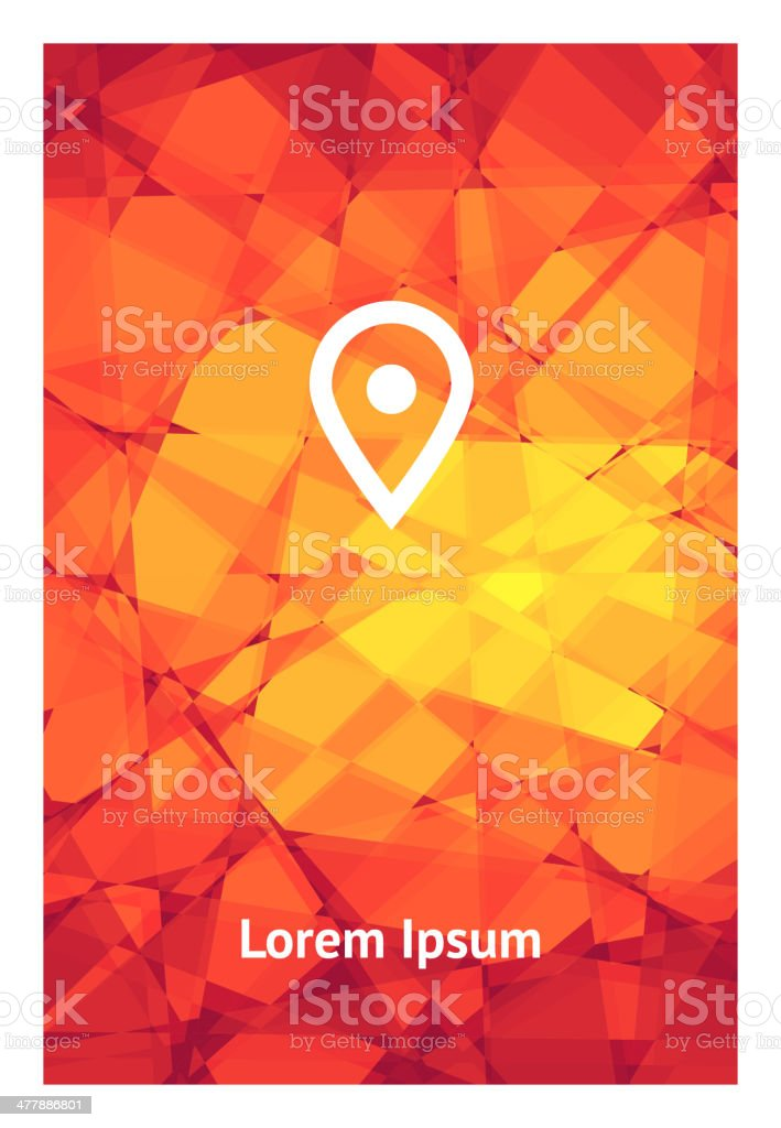 Mosaic red-yellow background and white symbol on it royalty-free stock vector art