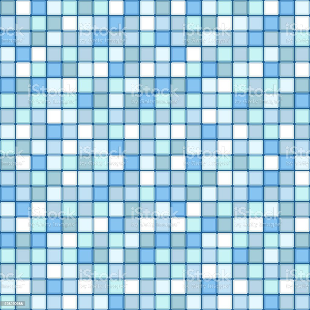 mosaic seamless pattern. square tile with pastel blue colors vector art illustration
