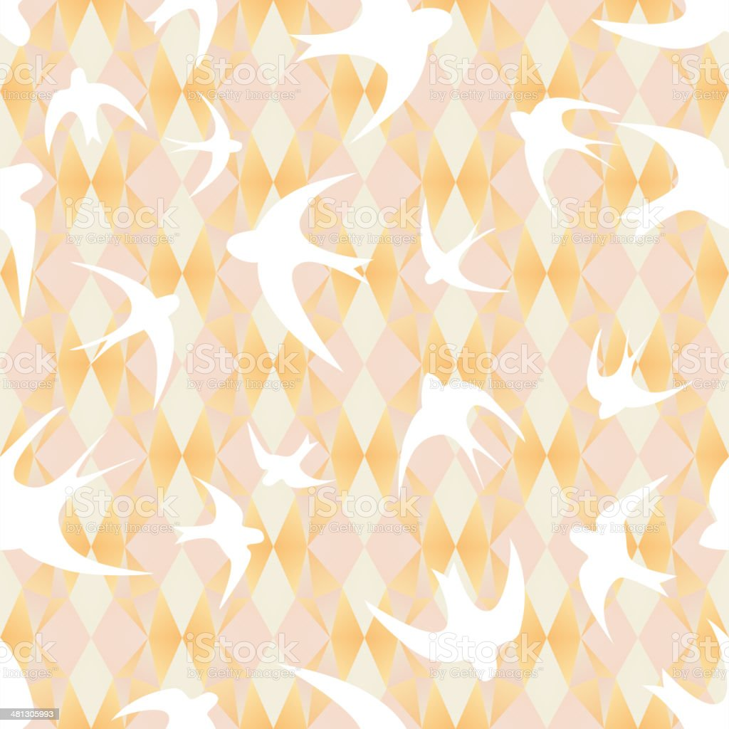 mosaic texture with swallows royalty-free stock vector art