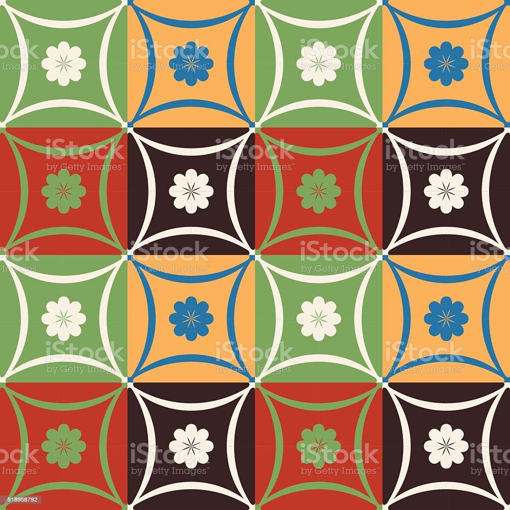 flor mosaico azulejos padro com formas geomtricas vetor e ilustrao royaltyfree royaltyfree