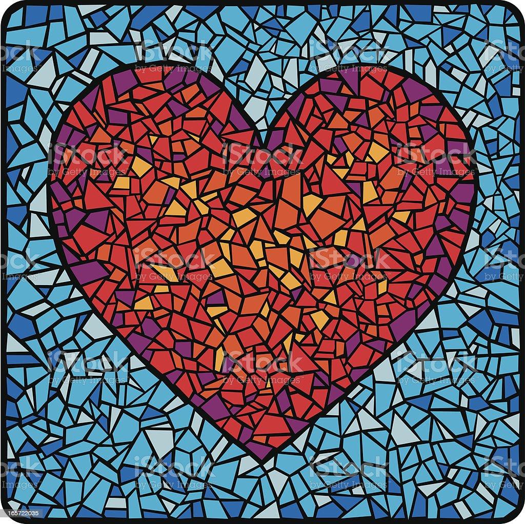 Mosaic Tile Heart vector art illustration