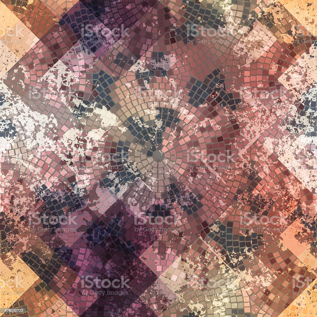 Mosaic with roses and grunge effect vector art illustration