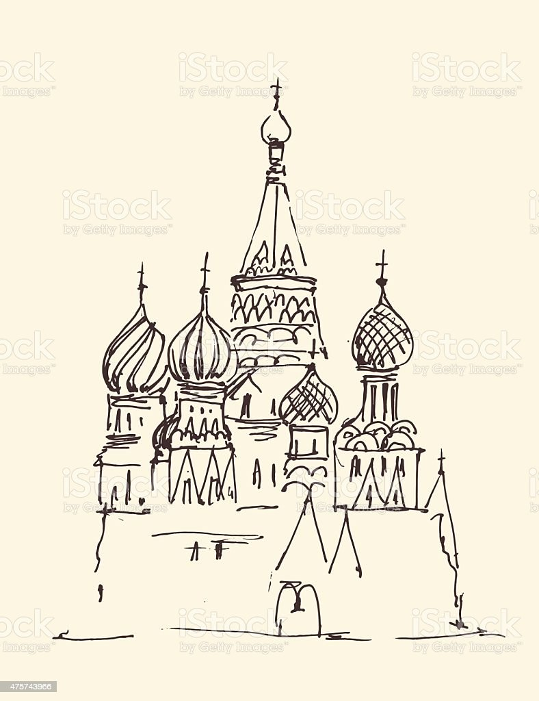 Moscow (Cathedral of Vasily the Blessed) city architecture, vintage engraved vector art illustration