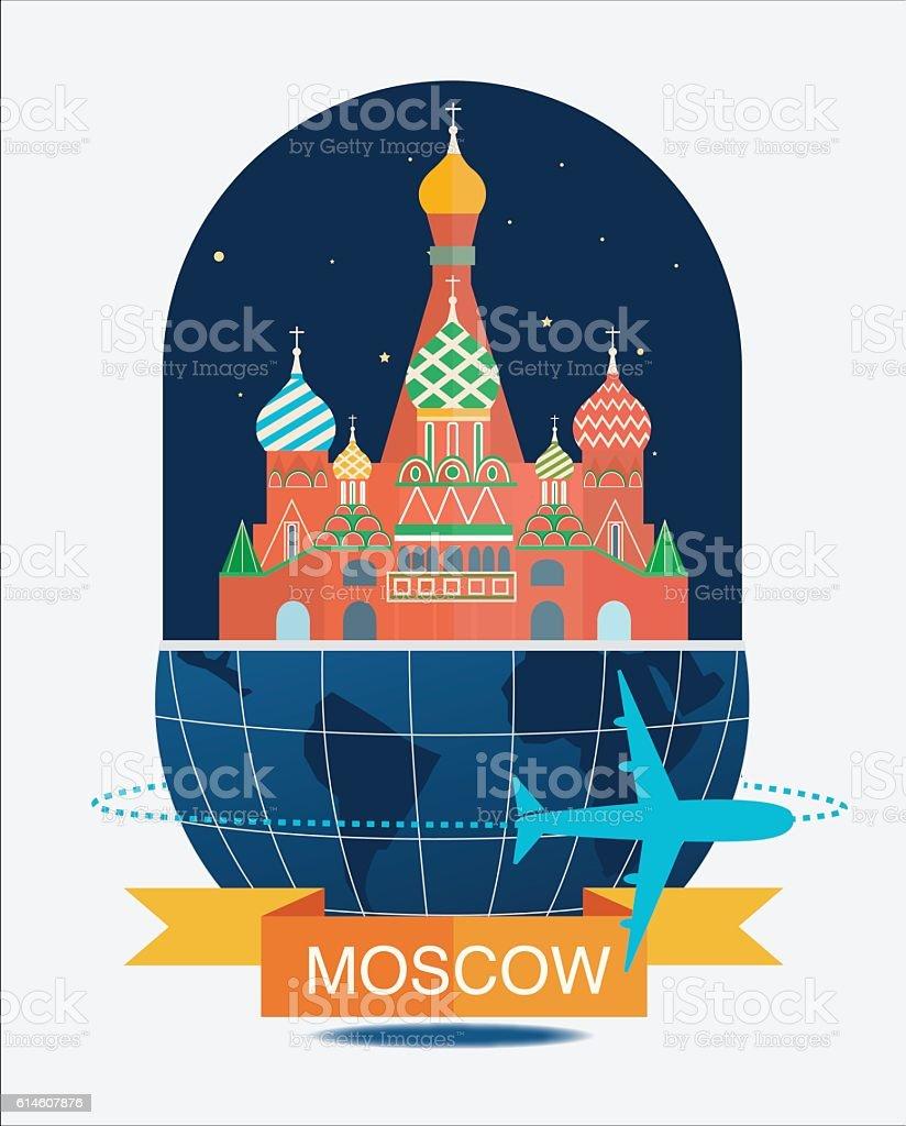 Moscow City Night vector art illustration