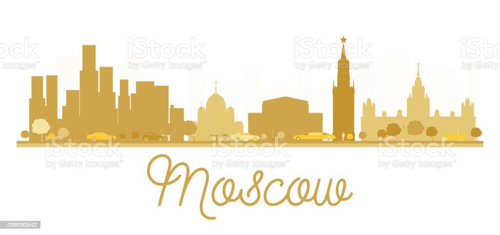 Moscow City skyline golden silhouette. vector art illustration