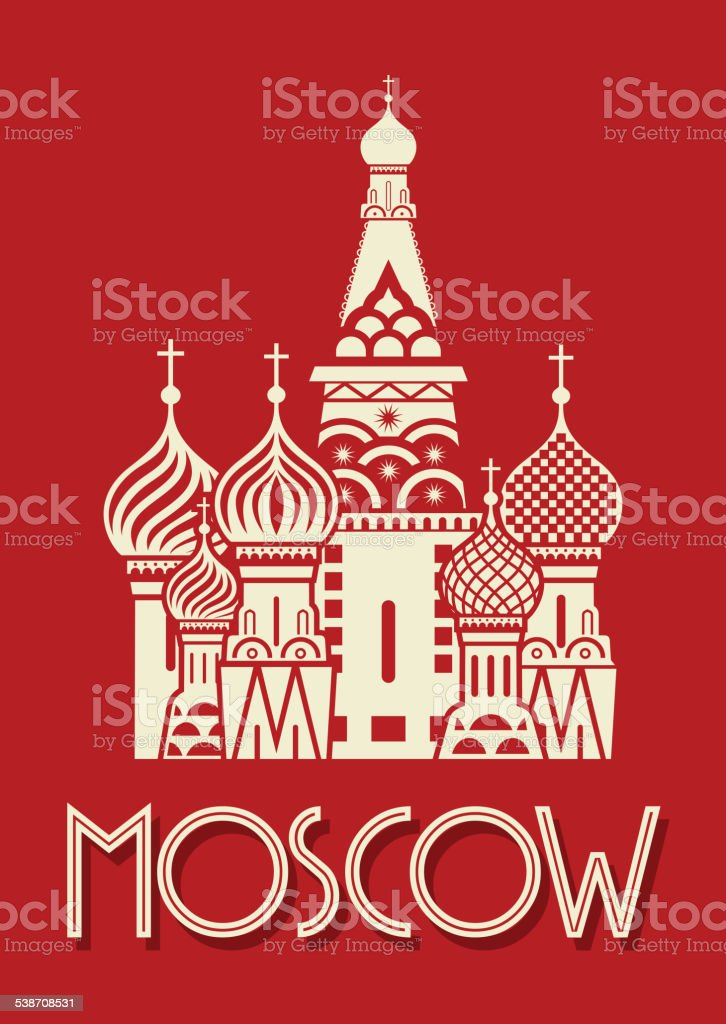 Moscow poster vector art illustration