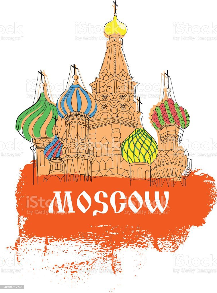 Moscow, Red Square, cathedral in orange  sketch style vector art illustration
