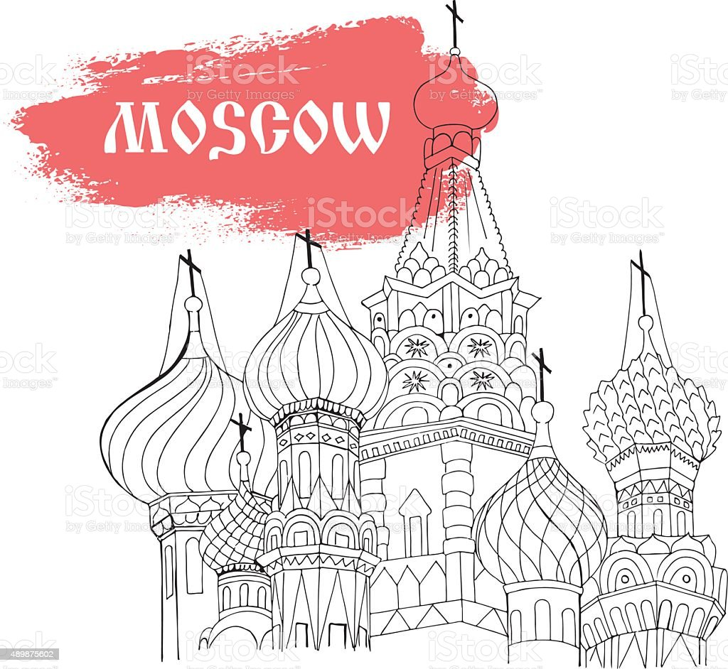 Moscow, Red Square, cathedral in sketch style vector art illustration