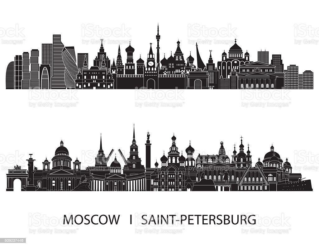 Moscow Saint Petersburg skyline. Vector illustration vector art illustration