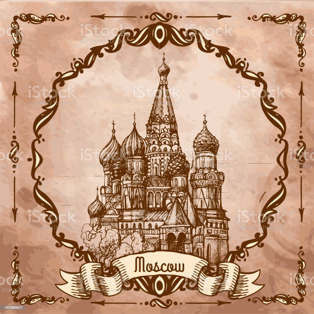 Moscow, St. Basil's Cathedral vector art illustration