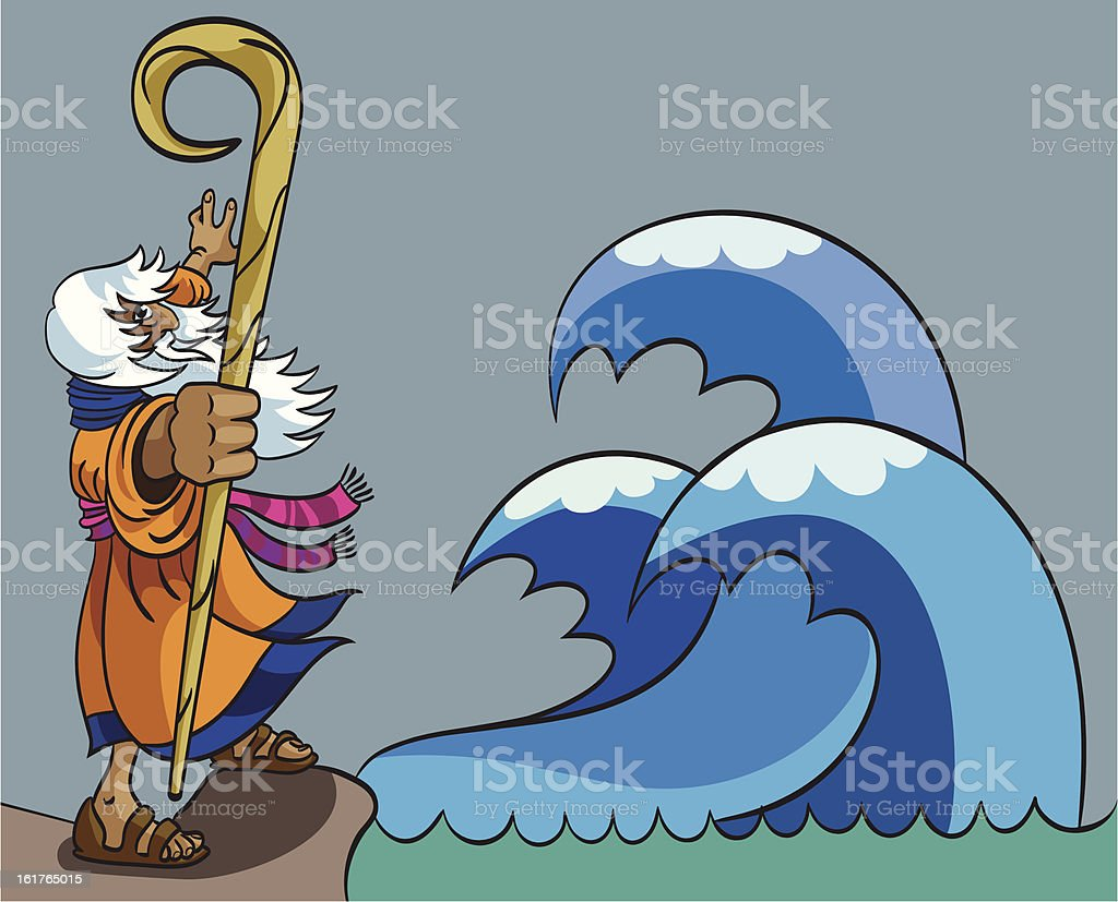 Moses and Red Sea vector art illustration