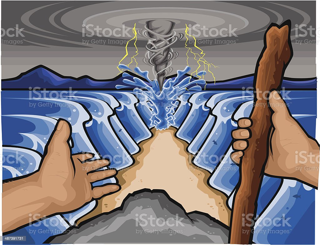 Moses and the Red Sea vector art illustration