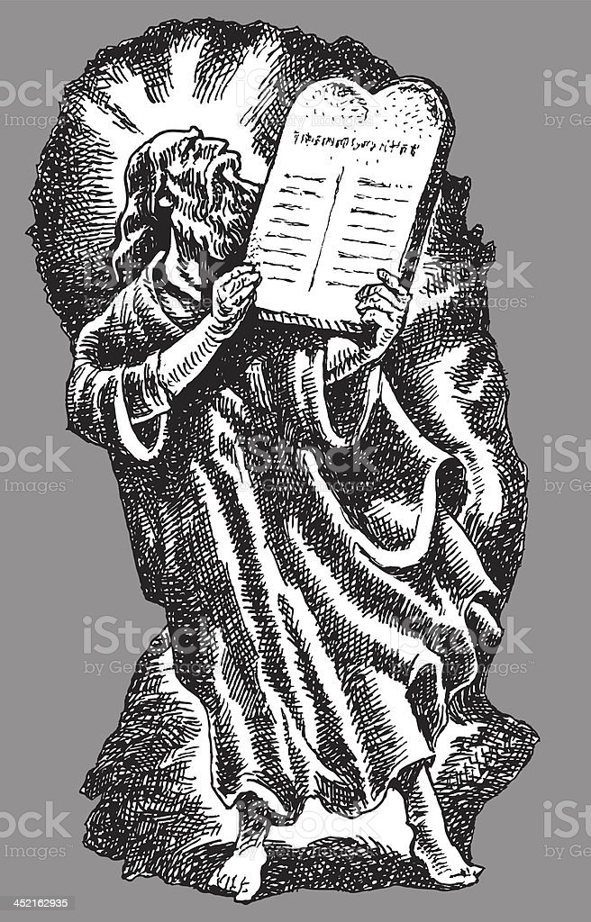 Moses and the Ten Commandments - Bible Stories royalty-free stock vector art