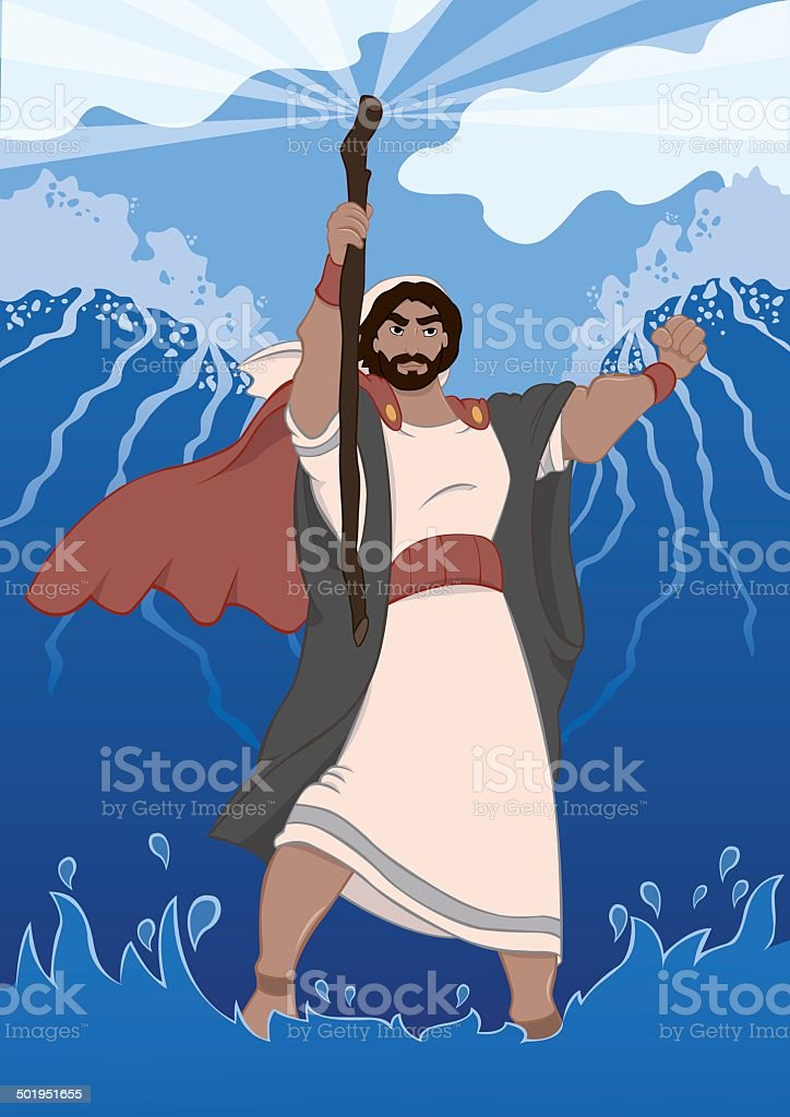 Moses Dividing the Red Sea vector art illustration