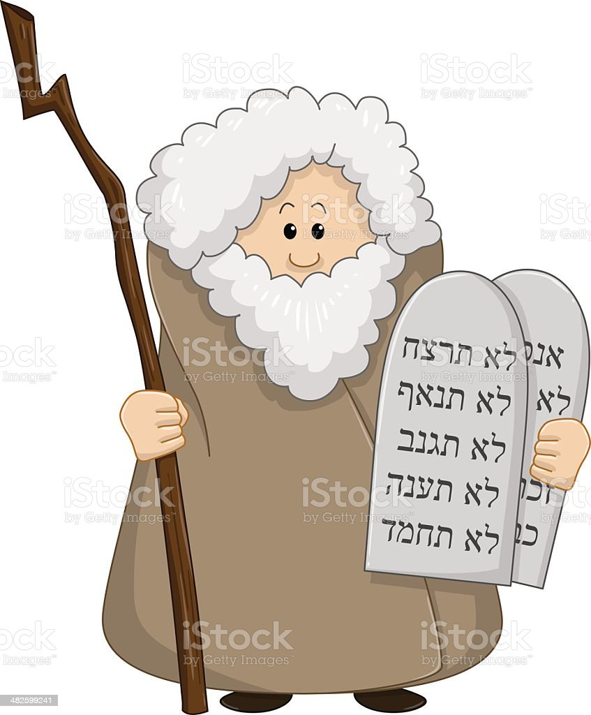 Moses Holding The Ten Commandments vector art illustration