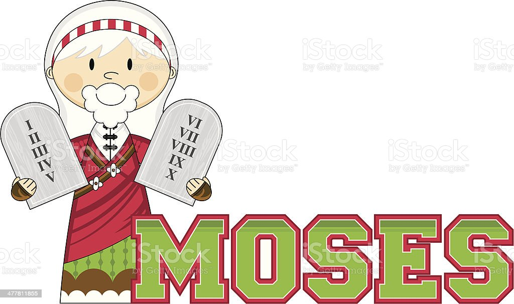 Moses Learn to Read Illustration royalty-free stock vector art