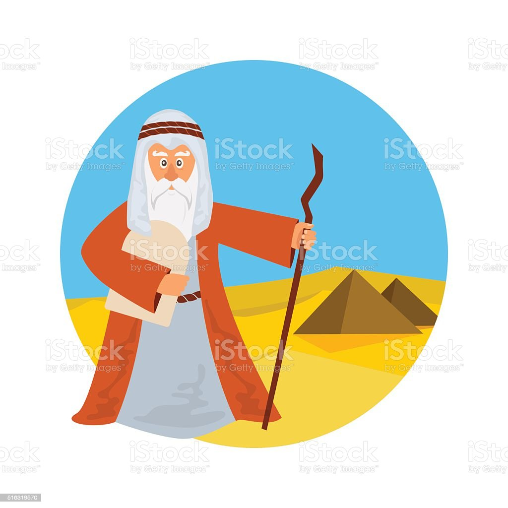 Moses on Egypt/desert background vector art illustration