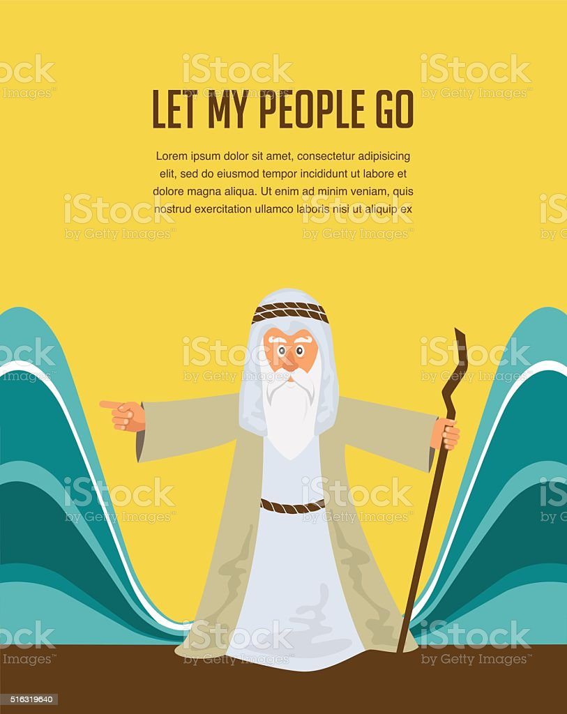 Moses Splitting The  Red Sea - Israelite leaving Egypt. vector art illustration