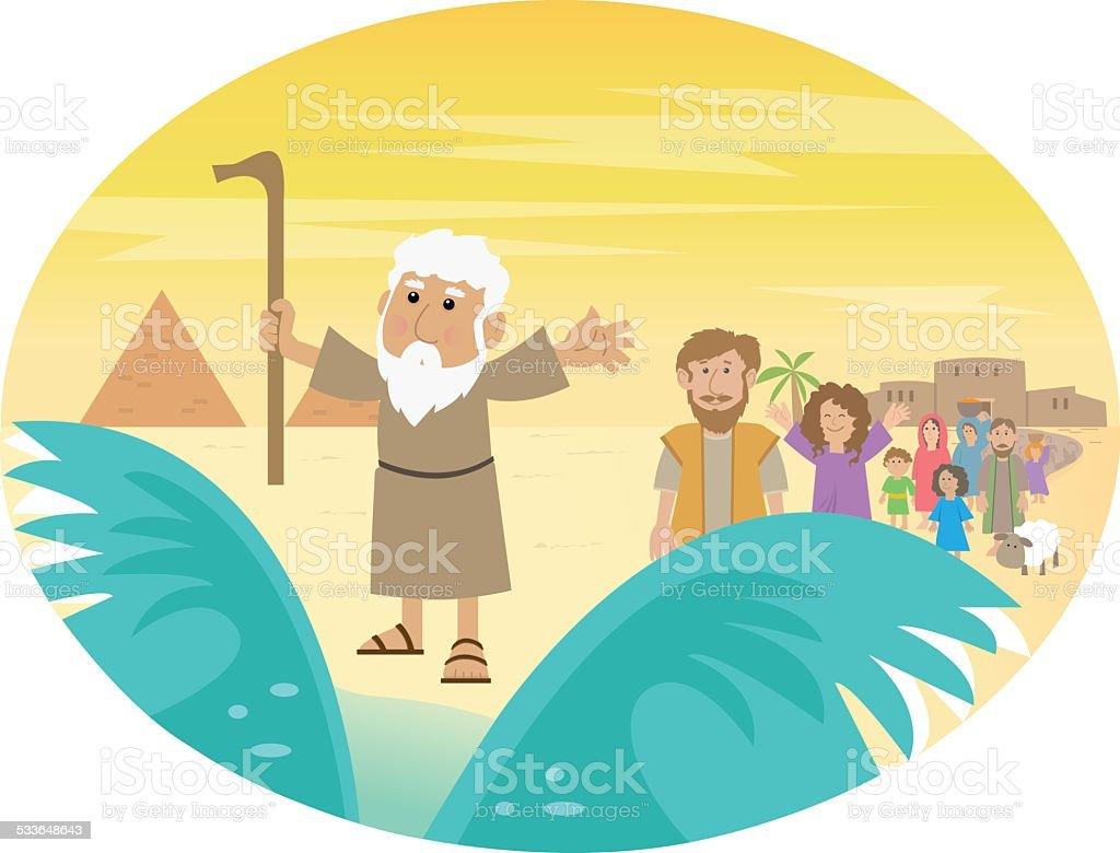 Moses Splitting The Sea vector art illustration