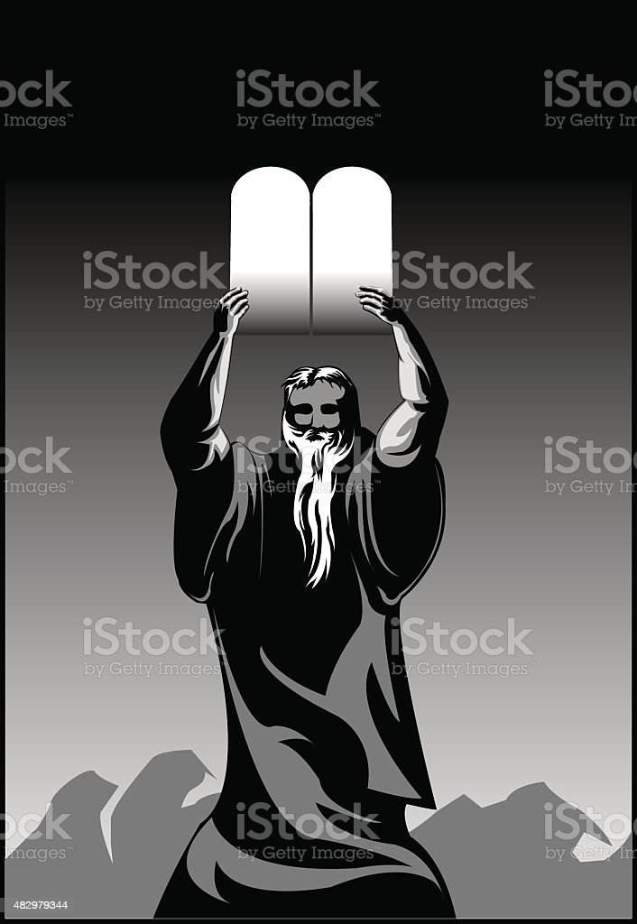 Moses with Ark of the Covenant vector art illustration