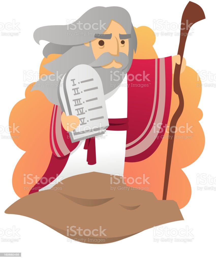 Moses with the Ten Commandments vector art illustration
