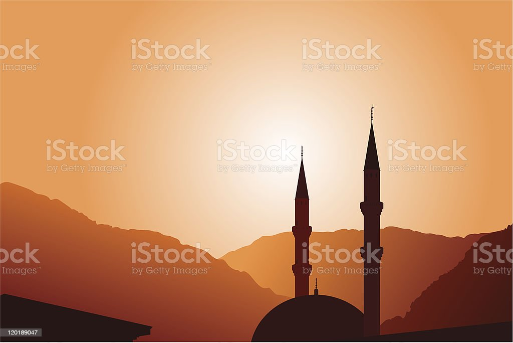 Mosque silhouette at sunset royalty-free stock vector art