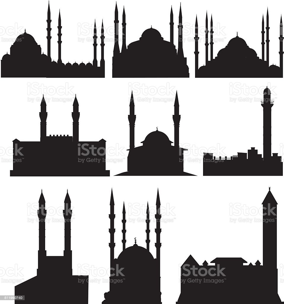 mosque silhouette vector art illustration