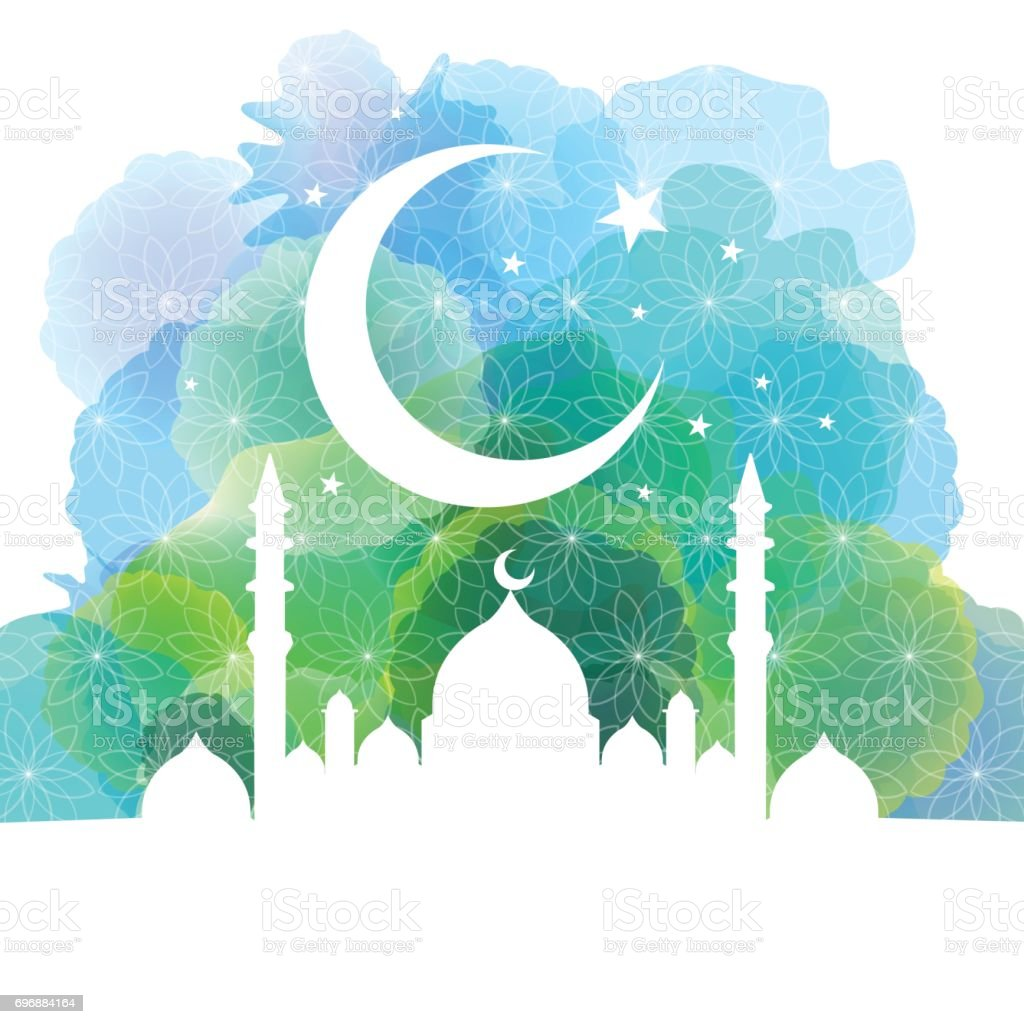 Background image 8841 - Mosque Silhouette With Crescent Moon And Star Background Royalty Free Stock Vector Art