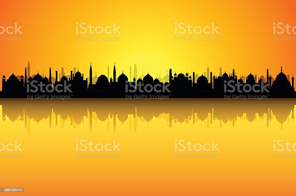Mosque Skyline (Each Mosque is Complete and Moveable) vector art illustration