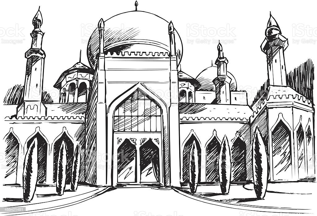 Mosque Temple vector art illustration