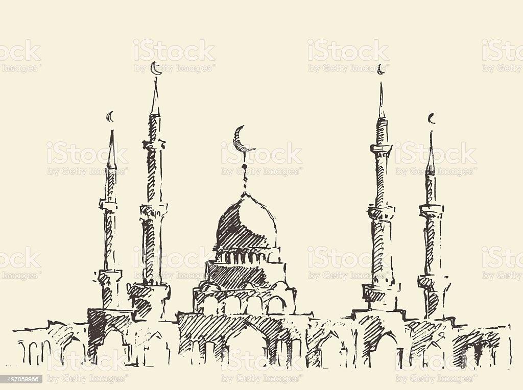 Mosque vintage illustration hand drawn sketch vector art illustration
