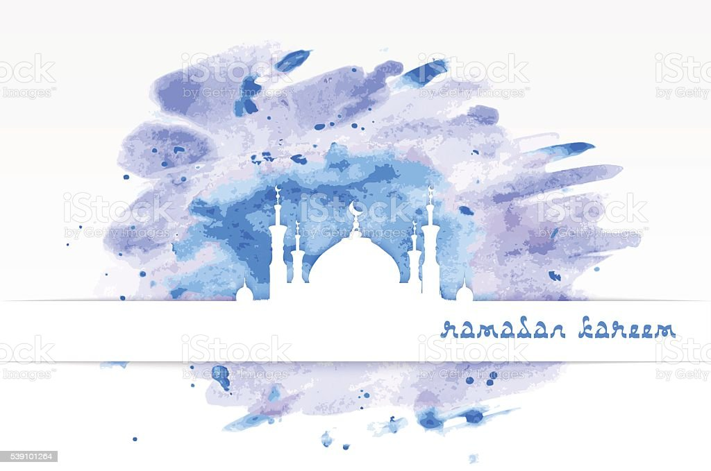 mosque with minarets on watercolor background vector art illustration