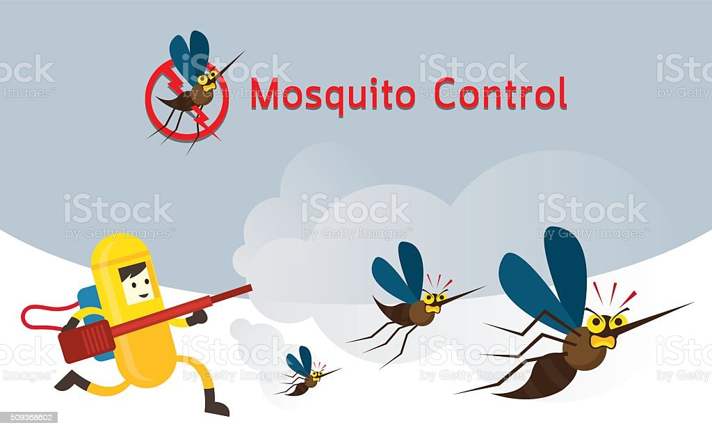 Mosquito Control, Man in Protective Suit Run Spraying Mosquito vector art illustration