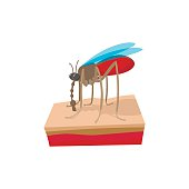 Mosquito on the skin cartoon icon
